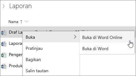 Buka file di Word Online di OneDrive