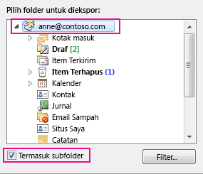 Kotak dialog Outlook Data File ekspor dengan atas folder yang dipilih dan Sertakan subfolder dicentang
