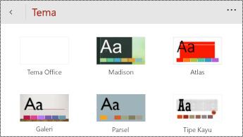 Menu tema di PowerPoint untuk Windows Phone.