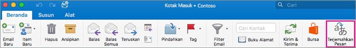 Menerjemahkan tombol di Outlook untuk Mac
