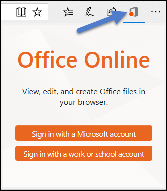 Dialog masuk untuk ekstensi Office Online di tepi