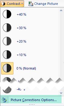 Untuk menyesuaikan jumlah kontras, pilih opsi koreksi gambar
