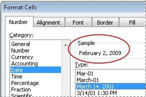 Contoh kotak yang dipilih dalam kotak dialog Format Sel