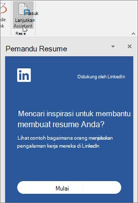 Pada tab Tinjau, klik asisten Resume. Jika ini pertama kalinya Anda menggunakan Asisten Resume, klik mulai.
