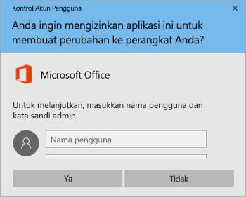 Cuplikan layar memperlihatkan jendela Kontrol Akun Pengguna