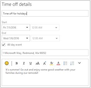 Contoh bagaimana waktu dari detail mungkin terlihat dengan judul, waktu starte dan akhir, dan deskripsi yang disediakan