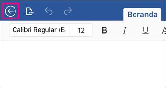Memperlihatkan tombol kembali di Word 2016 untuk iPad.
