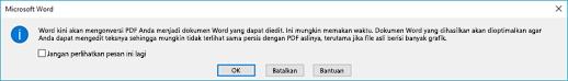 Word mengonfirmasi bahwa akan berusaha reflow file PDF yang Anda buka.