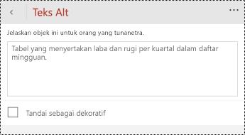 Dialog teks Alt untuk tabel di PowerPoint untuk Windows Phone.