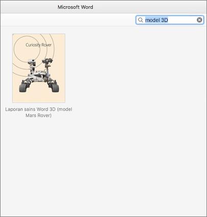 Menemukan templat Model 3d di Word untuk Mac
