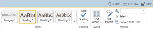 Cuplikan layar bagian pita SharePoint Online dengan kontrol Berbagi, Ikuti, dan Simpan.