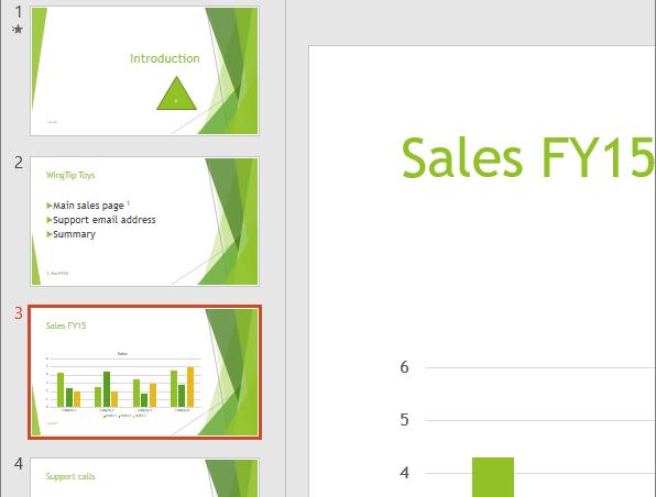 Memperlihatkan Panel Slide dengan slide ketiga dipilih di PowerPoint