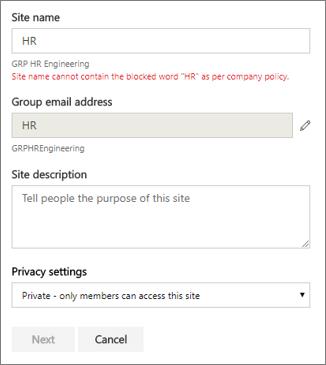 Cuplikan layar: Kebijakan grup penamaan - situs SharePoint diblokir nama