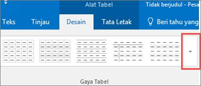 Cuplikan layar gaya enam tabel pertama dan tombol lainnya untuk melihat semua gaya tabel.