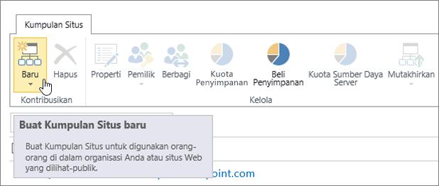 Halaman Kumpulan Situs dengan Baru yang dipilih