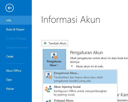 Opsi Pengaturan Akun bisa ditemukan di panel Informasi Akun.