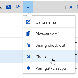Menu dokumen dengan Check In disorot