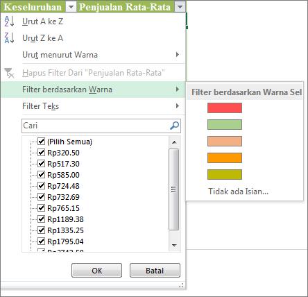 Opsi Filter menurut Warna