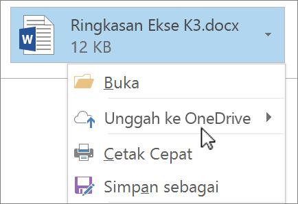 Cuplikan layar jendela penulisan Outlook, memperlihatkan file lampiran dengan perintah Unggah dipilih.