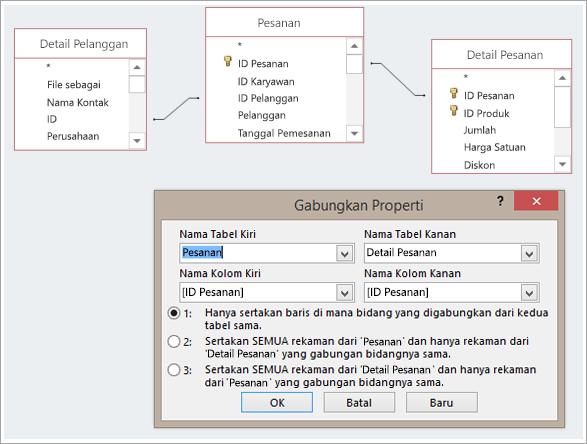 Cuplikan layar tiga tabel dan propertinya bergabung