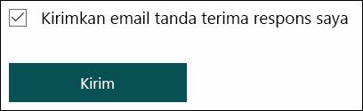 Opsi untuk mengirim tanda terima email respons Anda sendiri di Microsoft Forms