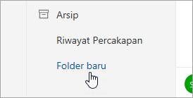 Cuplikan layar tombol Folder baru