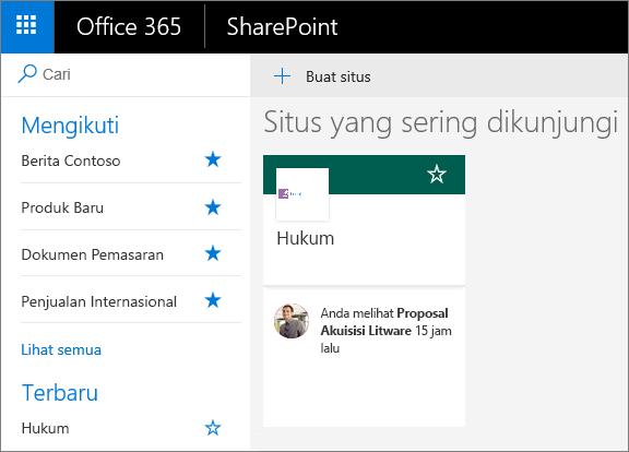 Cuplikan layar laman mode SharePoint Modern.