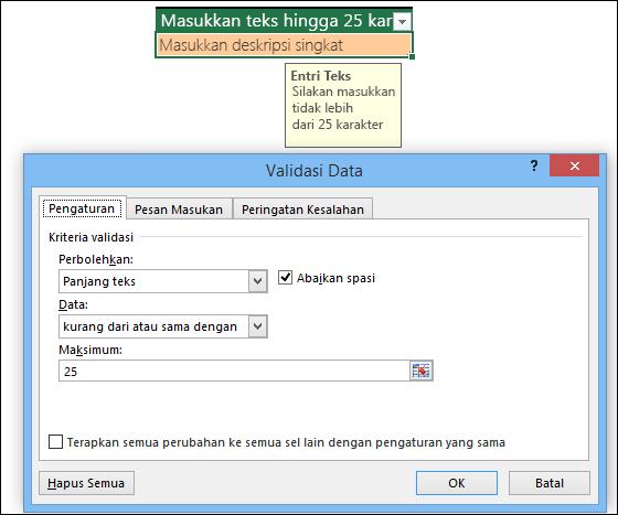 Contoh Validasi Data dengan panjang teks terbatas