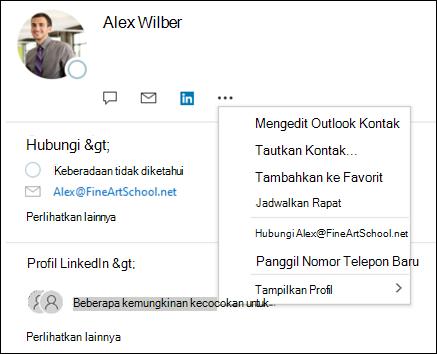 Pilih tautkan kontak untuk memperbarui informasi dari catatan kontak lain.