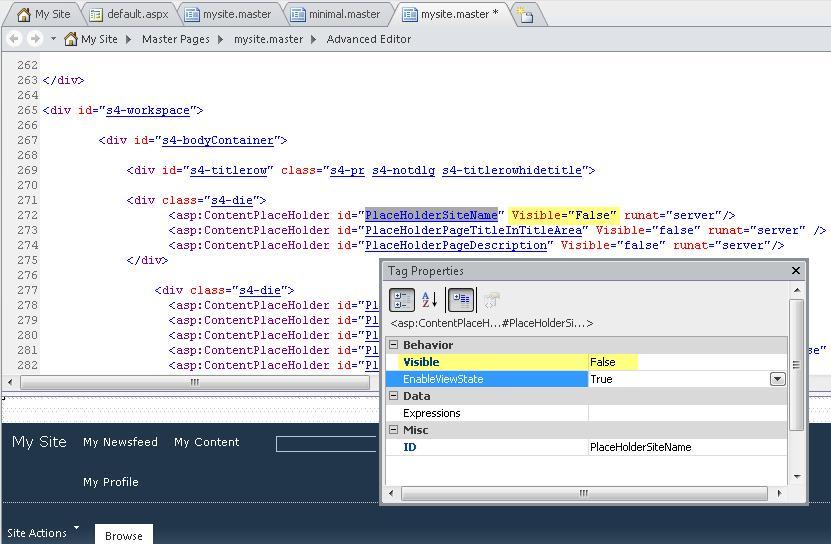 Ini memperlihatkan properti tag untuk kontrol PlaceHolderSiteName.