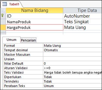Aturan validasi bidang yang ditampilkan dalam desainer tabel Access