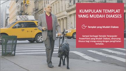Seorang pria dengan gangguan penglihatan berjalan dibantu dengan anjing yang melihat