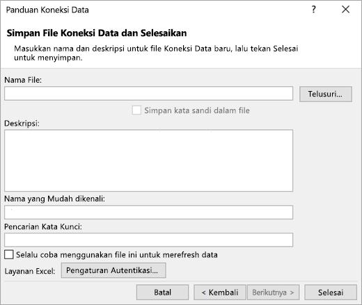 Layar panduan koneksi data 3