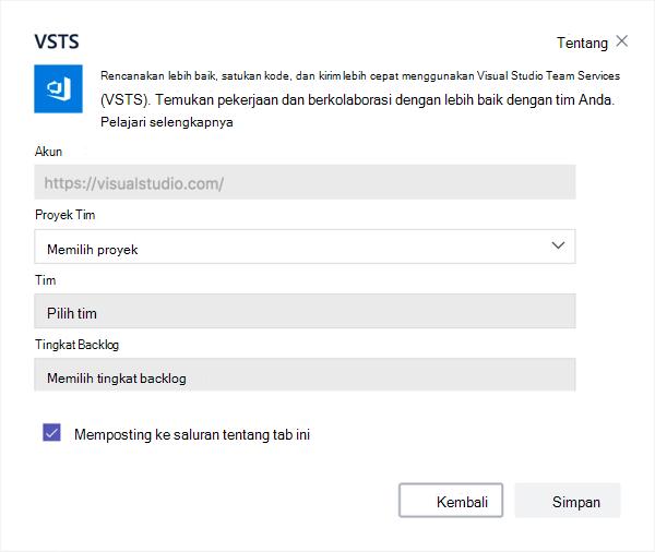 Kotak dialog Visual Studio untuk menambahkan papan Kanban ke tab
