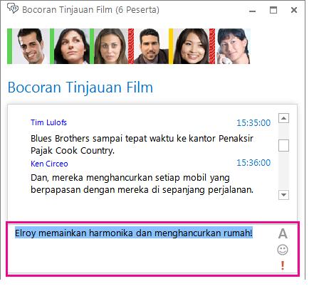 Cuplikan layar jendela ruang obrolan yang memperlihatkan pesan dengan font berubah dan emotikon ditambahkan