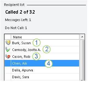daftar panggilan dengan dua panggilan dibuat