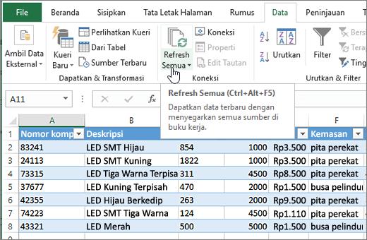Lembar bentang Excel dengan daftar diimpor dan tombol Refresh semua disorot.