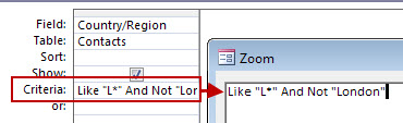 Gambar desain kueri menggunakan NOT dan AND NOT diikuti teks yang akan dikecualikan dari pencarian