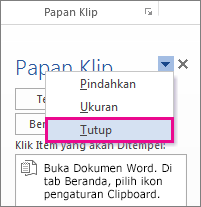 Menutup Clipboard di Word