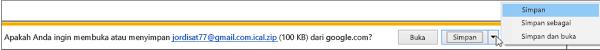 Pilih lokasi untuk menyimpan kalender Google Anda yang diekspor.