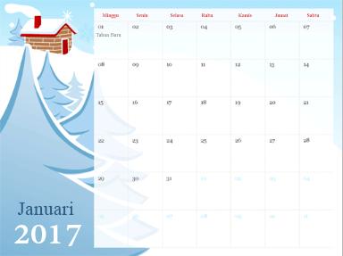 Templat kalender di PowerPoint Online