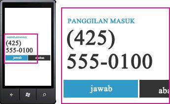 Cuplikan layar yang memperlihatkan nomor telepon untuk panggilan masuk dan tombol jawab pada klien seluler Lync
