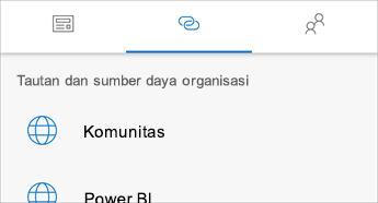 Cuplikan layar tab Tautan