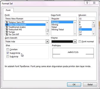Kotak dialog format dengan superskrip dipilih.