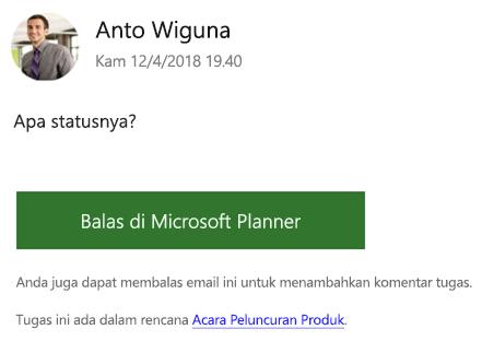 Cuplikan layar: memperlihatkan contoh pesan email grup yang mungkin Anda terima.