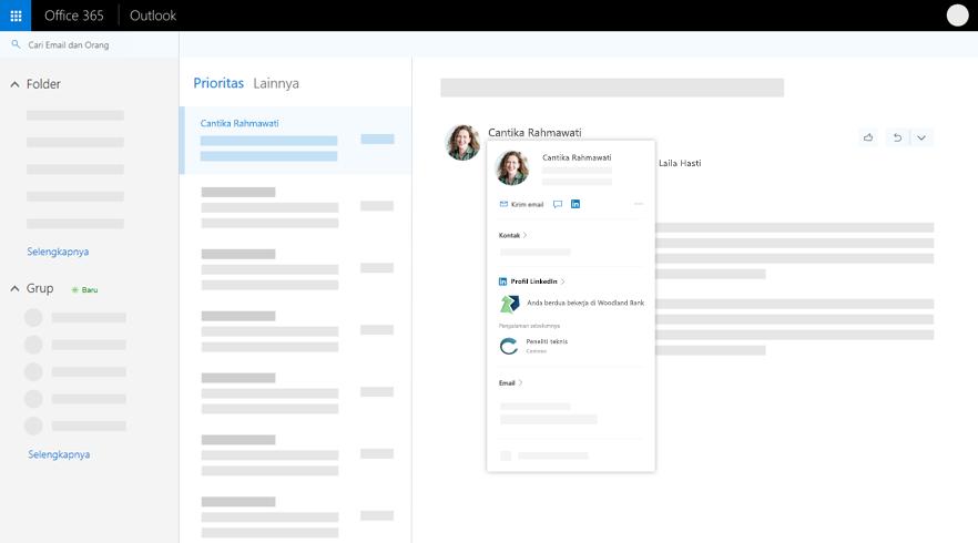 Kartu profil di Outlook