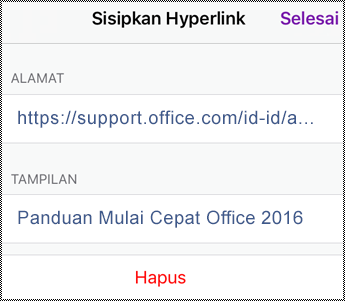 Dialog hyperlink di iPhone.