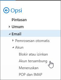 Cuplikan layar menu opsi Pesan yang menampilkan Akun tersambung di bawah Akun