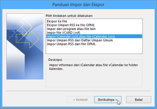 Pilih Impor file iCalendar atau vCalendar.