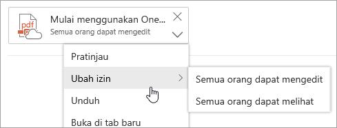 Cuplikan layar menu Tindakan lainnya dengan Ubah izin dipilih